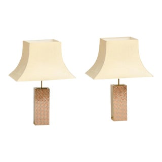 1980s Gilt Brass Column Shaped Lamps In The Manner Of Paul Evans - Pair For Sale