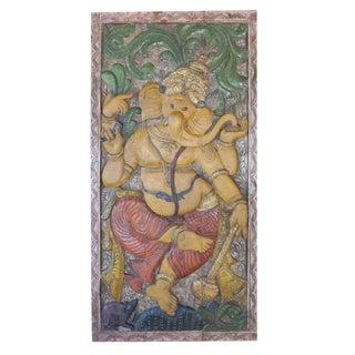 Vintage Indian Hand Carved Ganesha Root Chakra Yoga Zen Sculptural Door Panel For Sale
