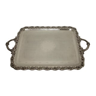 Large Silver Plated Tray With Handles. French For Sale