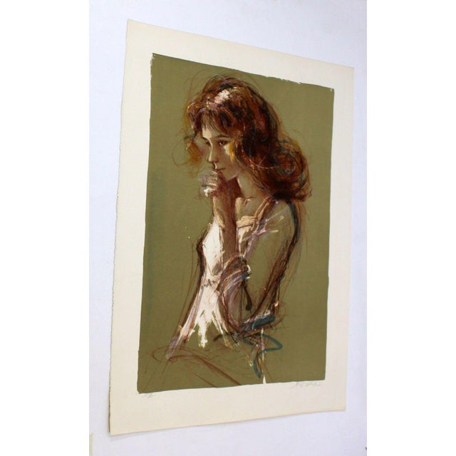 For your consideration is an unframed, artist proof print, signed portrait of a girl touching her mouth. In excellent...