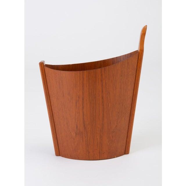 Brown Asymmetric Teak Waste Basket by Westnofa For Sale - Image 8 of 13