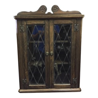 English Carved Wood Wall Corner Cabinet For Sale