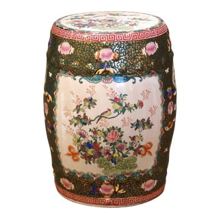 Mid-Century Chinese Porcelain Garden Stool With Bird and Floral Decor For Sale