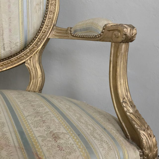 19th Century French Louis XVI Giltwood Sofa For Sale - Image 11 of 12