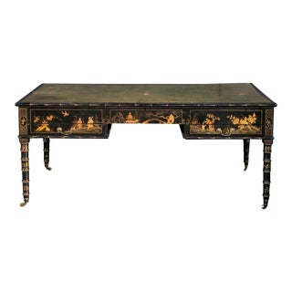 A rare English regency style Japanned map table now adapted to a reverse partners desk; ex-collection Michael Taylor, San Francisco