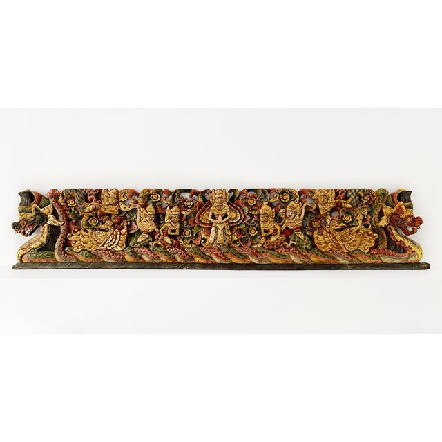 Wood Vintage Thai Wood Carving Wall Art For Sale - Image 7 of 7