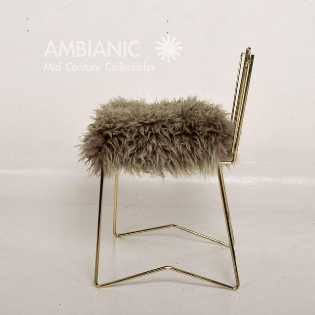 Animal Skin Pr03 Folding Brass & Lambskin Chair For Sale - Image 7 of 9