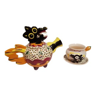 """Handmade and Painted """"Perro Negro"""" Teapot With Matching Cup and Saucer - A Pair For Sale"""