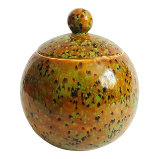 Vintage MCM Large Pottery Sphere Container For Sale