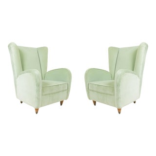 1960s Mid-Century Wingback Mint Green Velvet Armchairs - a Pair For Sale