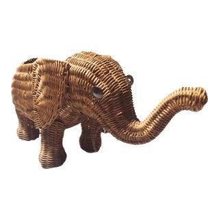 1960s Planter Wicker Elephant For Sale