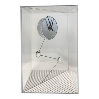 Mirrored Zigzag Allusion Clock in Lucite Case For Sale
