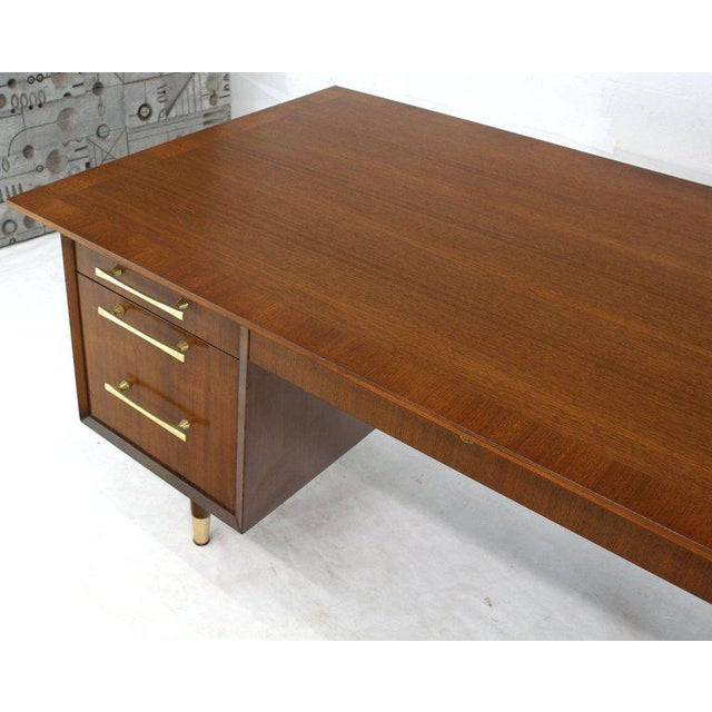 Caned Back Overhanging Floating Banded Top Large Brass Hardware Executive Desk For Sale - Image 9 of 12