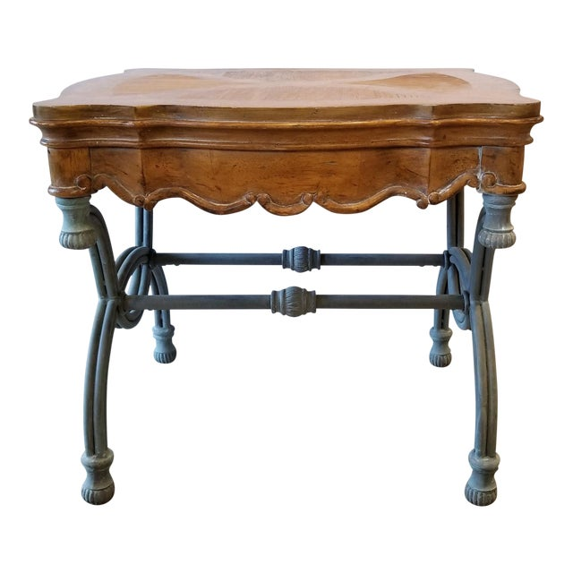 1990s Italian Burl Wood & Iron Side Table For Sale
