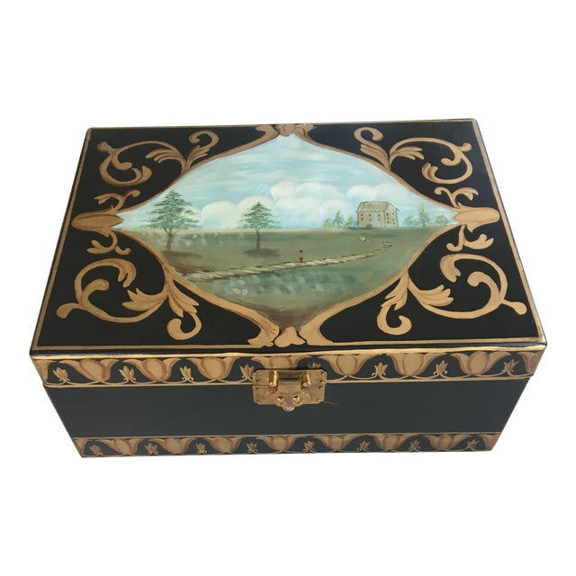 Antique Box With Landscape and Gold Trim Hand Painted Details For Sale
