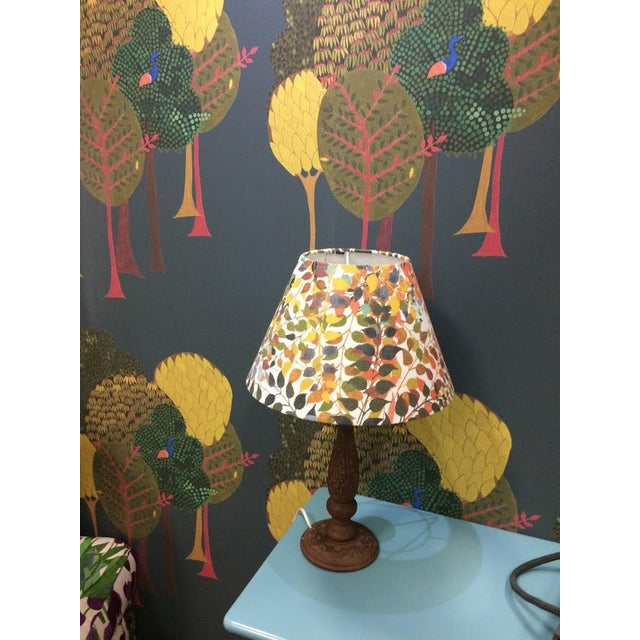 """Contemporary Confetti Leaves 12"""" Coolie Lamp Shade in Ash Grey For Sale - Image 3 of 5"""