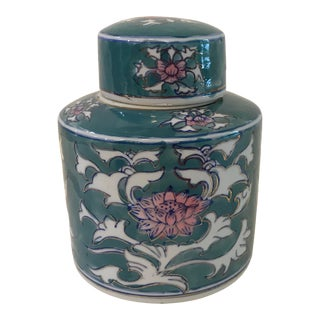 Vintage Chinese Ceramic Tea Caddy For Sale