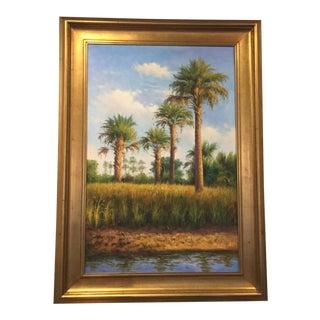 Vintage Mid Century Original Tropical Nature Scene Painting For Sale