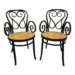 Hollywood Regency Thonet Style Cafe Daum Canned Chairs - a Pair