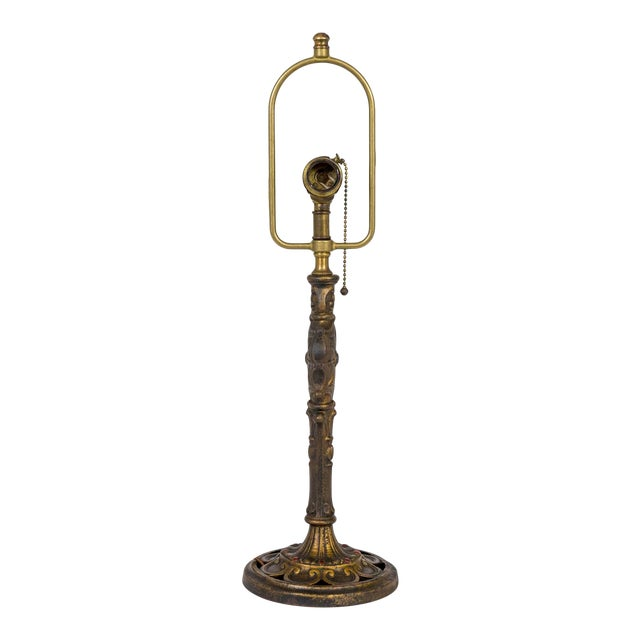 Early 20th Century Cast Brass Table Lamp with Spider Web For Sale