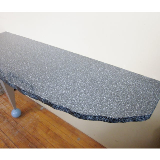 Memphis Vintage Postmodern Custom Made Memphis Design One-Legged Console Table For Sale - Image 3 of 13