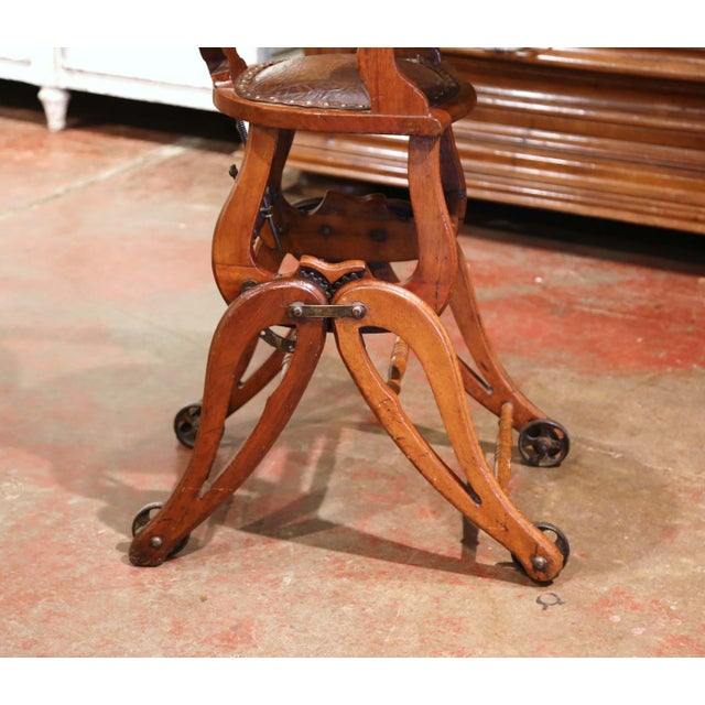 19th Century English Carved Walnut and Leather Adjustable High Chair Rocker For Sale - Image 11 of 13