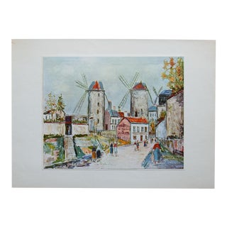 "1950s Maurice Utrillo, ""Windmills of Montmartre"" First Edition Lithograph For Sale"