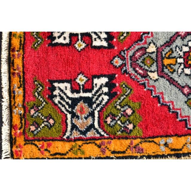 Vintage Turkish Anatolian Handmade Carpet - 2x3 Ft For Sale - Image 4 of 5