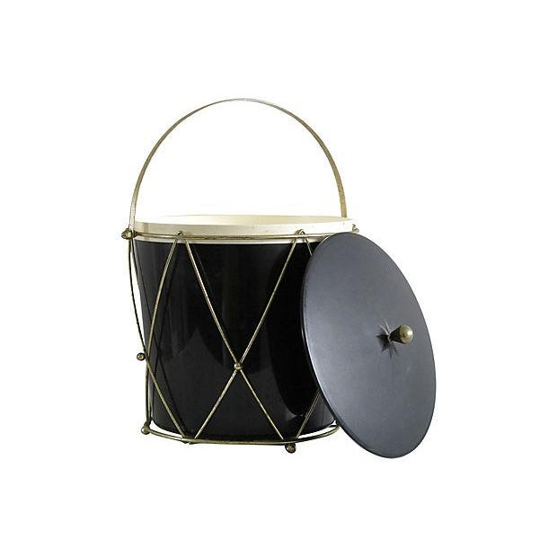 Black Plastic Drum-Style Ice Bucket & Caddy - Image 2 of 4