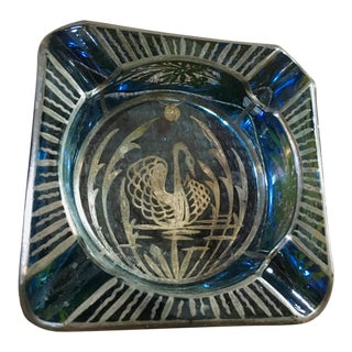 Glass & Sterling Swan Overlay Dish For Sale