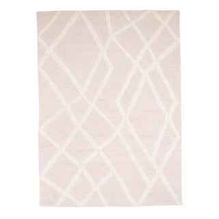 Pink Abstract Wool Rug - 5′ × 7′