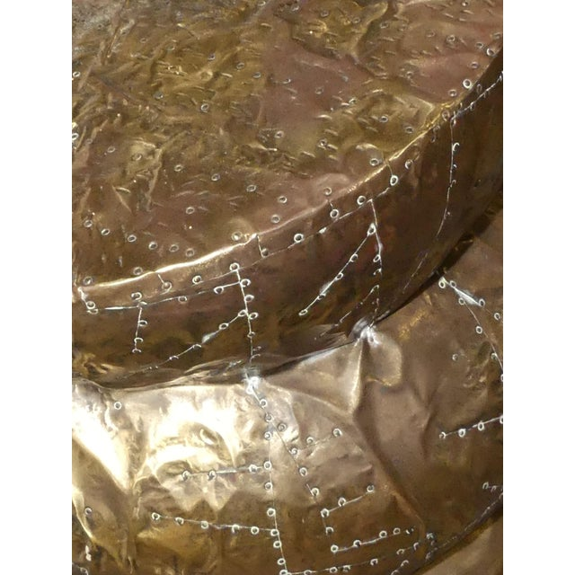Brass Signed Arthur Court Hammered Brass Side Table or Accent Table Base For Sale - Image 7 of 9
