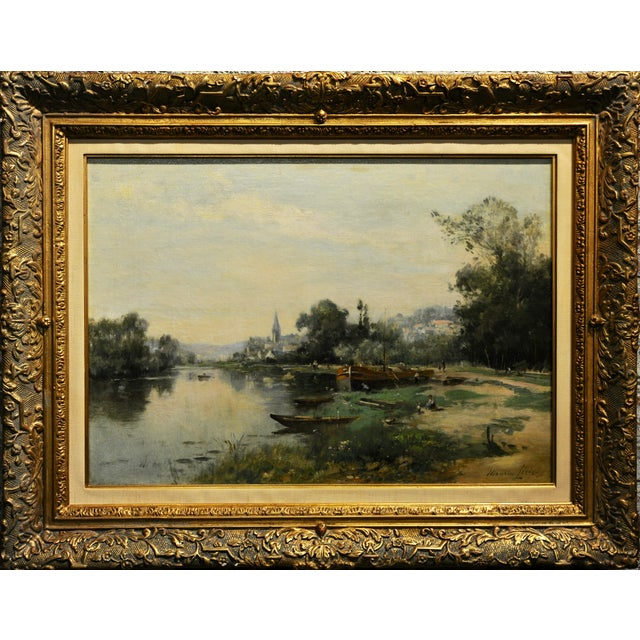 Maurice Levis -Picturesque French River scene -19th century Oil painting oil painting on canvas -Signed circa 1880/90s...