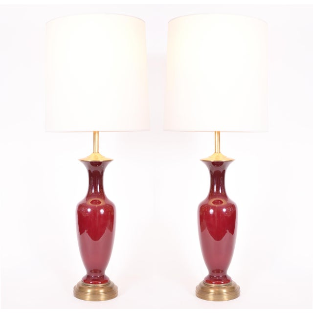 Red Vintage Porcelain With Brass Base Table / Task Lamps - a Pair For Sale - Image 8 of 8