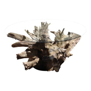Modern Mid Century Style Driftwood Table For Sale