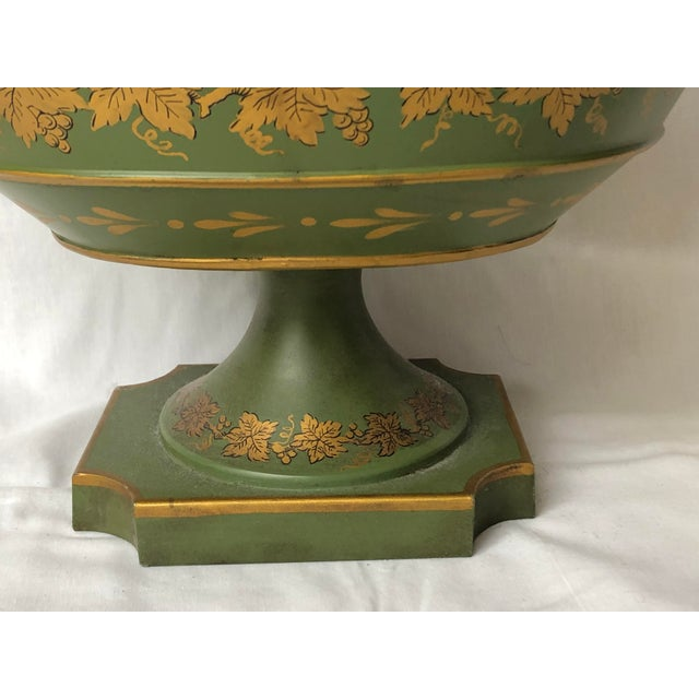 French French Green & Gold Tole Neoclassical Footed Monteith/Rafraichissoire/Chillers, Hp For Sale - Image 3 of 13