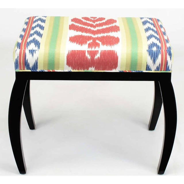Pair of Interior Crafts Black Lacquer and Ikat Benches - Image 2 of 8