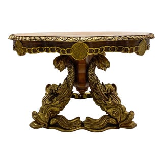 1950s Neo-Classical Style Italian Inlaid Gilt Dolphin Center or Dining Table For Sale