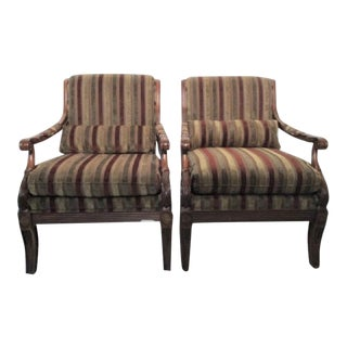 Ethan Allen Striped Bergere Chairs - Club Chairs Roma Style 1,700 New Each For Sale