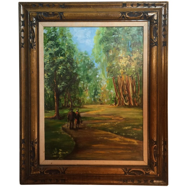 Couple Walking in Park Original Oil Painting - Image 1 of 7