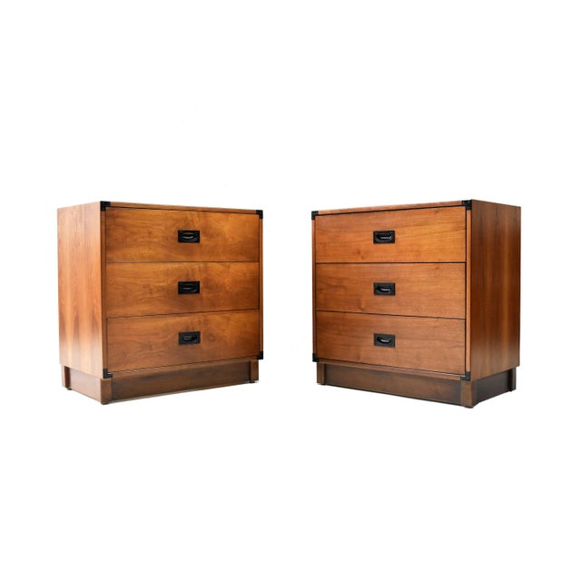 Mid- Century Campaign Style Chests by Drexel - a Pair For Sale - Image 13 of 13