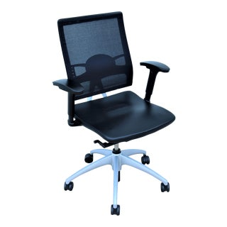 Modern Knoll Open Up Black Leather Ergonomic Chair Designed by Mathias Seiler For Sale