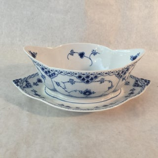 1960s Royal Copenhagen Sauce Boat With Attached Plate Preview