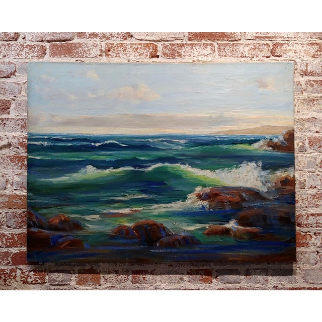 James Arthur Merriam California Rocky Seascape Oil Painting For Sale - Image 9 of 9
