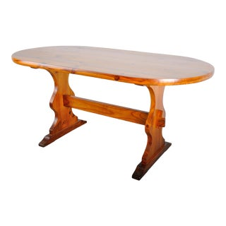 Vintage French Country Pine Oval Bistro Trestle Dining Table For Sale