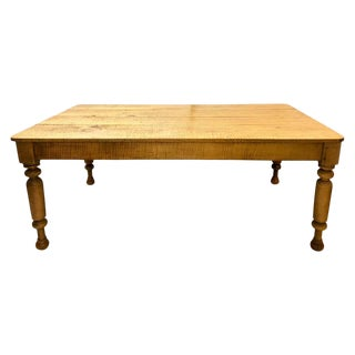 19th Century Tiger Maple Farm Table by Leonards, New England For Sale