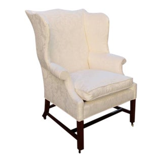 Late 18th Century Virginia Federal Black Walnut Upholstered Wingback Chair For Sale
