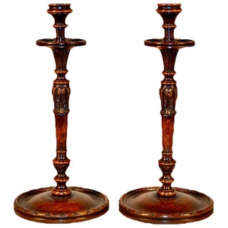19th C Carved Oak Candlesticks - a Pair For Sale