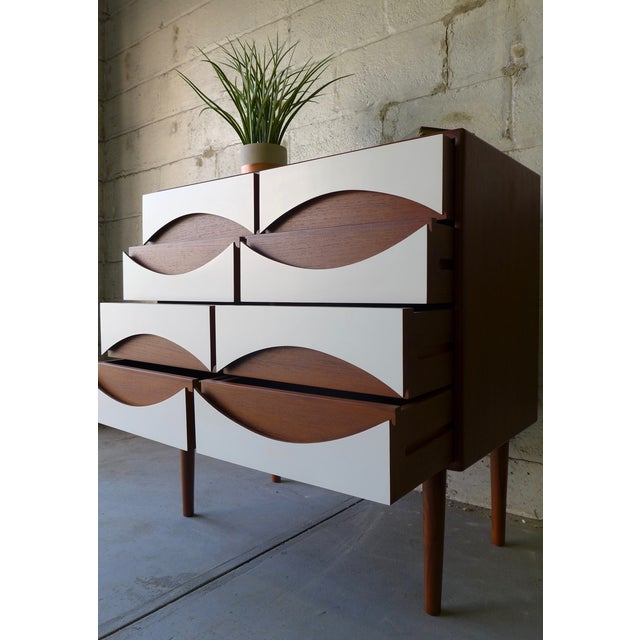 Mid-Century Modern Style White & Teak Dresser - Image 7 of 9