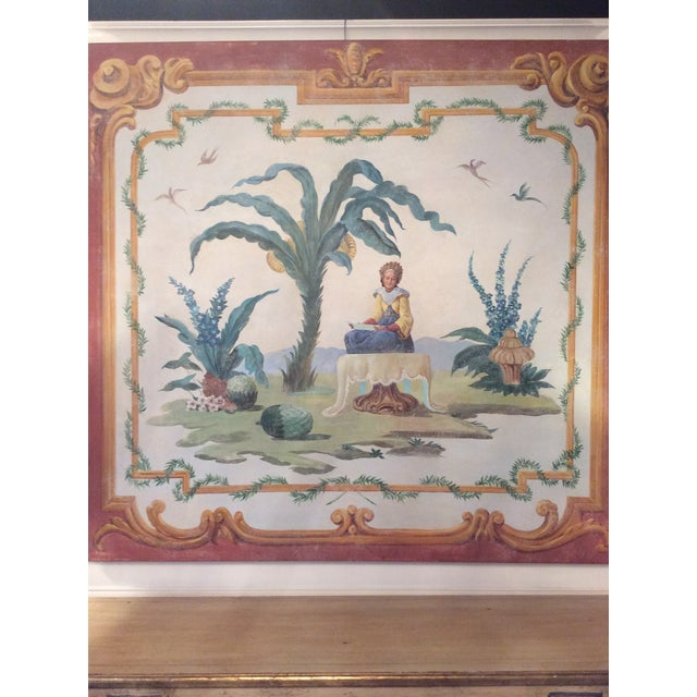 1950s 1950s Vintage Huge Hand-Painted Fresco Painting For Sale - Image 5 of 7